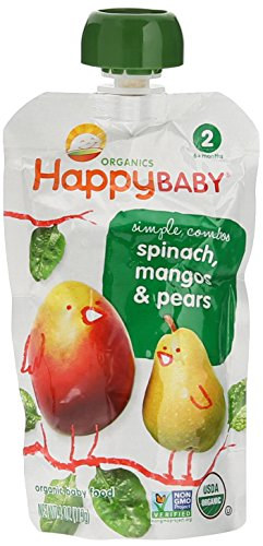 Happy Baby Organic Stage 2 Baby Food, Spinach, Mangoes & Pears, (8)