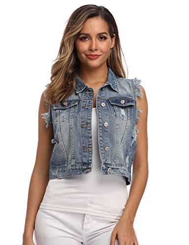 Denim Vest for Women Distressed Classic Button Sleeveless Jean Jacket Medium Blue M