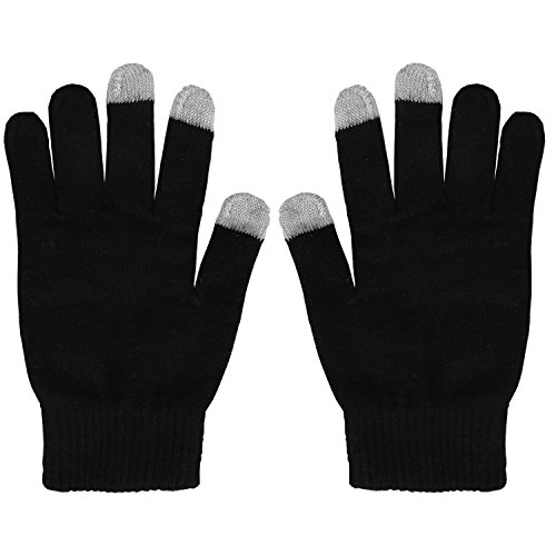 Fantastic Zone Women's Winter Stretch Cashmere Gloves for Women Solid Color Warm Knitted Thick Warm Gloves Black One Size