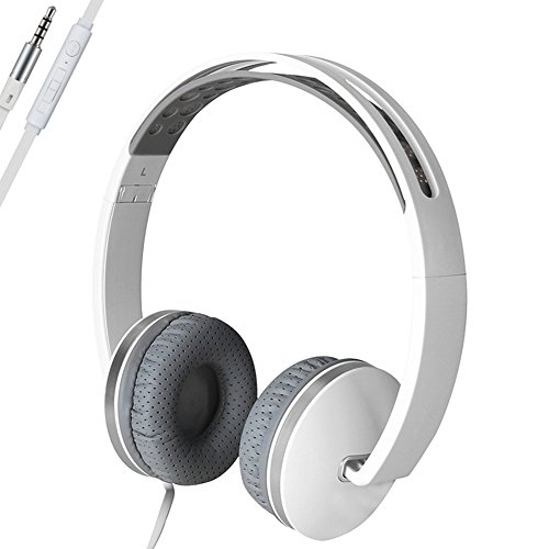 Headphones with Microphone for Computer Gaming,AUKAY Foldable Headphone Compatible with Amazing Sound plus Powerful Bass, Soft Sweat Proof Earpads for iPhone iPad Android Tablets Computer-Gray