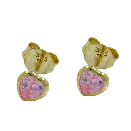 Earrings, Zirkonia-Herz pink, 9Kt GOLD