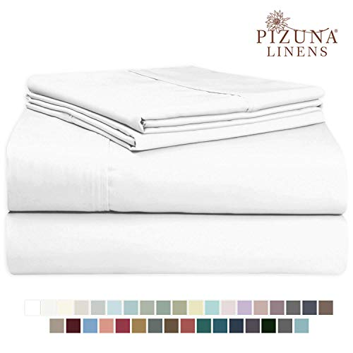 Pizuna 400 Thread Count White 6 Piece Queen Sheets Set Includes 2 Bonus Pillow Cases, 100% Long Staple Cotton Soft Sateen Weave Bed Sheets with Deep Pocket, Value Pack 6 pc Cotton Sheets Queen White (Satin Pieces Queen Sheet Set 6)