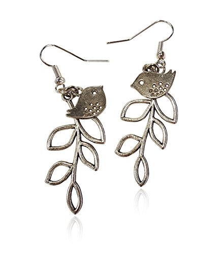 [Bird and Branch Open-work Tree Leaf Earrings Silver-tone Jewelry Lightweight Fishhook Dangle Women's Earring Set] (Dia Dangle Earrings)