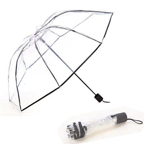 WerFamily Clear transparent Folding Auto Open/Close Umbrella w Reinforced Steel Ribs (black rim)FAST ePacket - Epacket Shipping Tracking