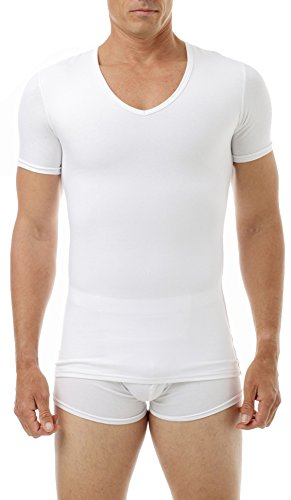 Underworks Cotton Concealer Compression V-neck T-shirt 3-pack Top, Small, White by Underworks (Image #3)