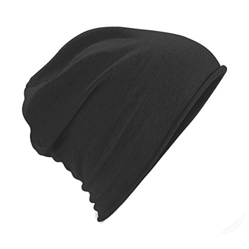 Cotton Knit Beanie - Beechfield Unisex Plain Jersey Beanie Hat (One Size) (Black)