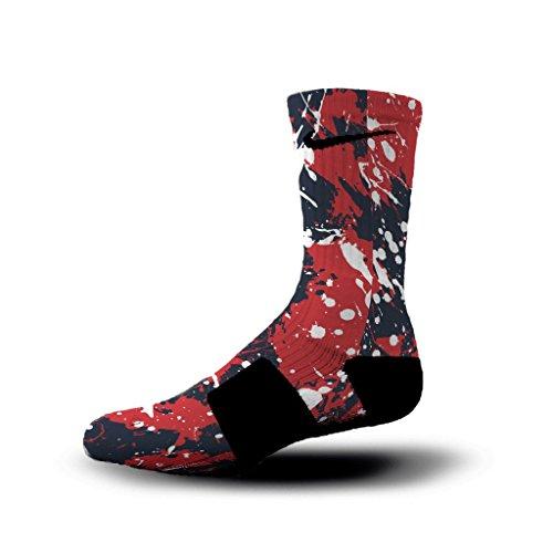 HoopSwagg New England Splatter Custom Elite Socks Large