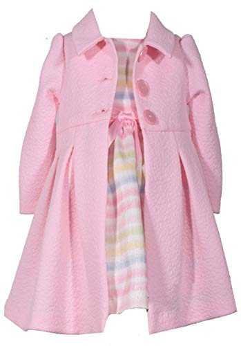 (Bonnie Jean Girls' Toddler Dress and Coat Set, Pink/Stripes)