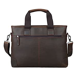 "Men's Accessories Men Business Briefcase Dark Brown Leather Retro Style Portable Messenger Bag Messenger Bag Handbag 14"" Laptop Bag Outdoor Recreation"