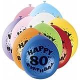 80th Globos De Látex 'happy Birthday' Pack 10 Unidades
