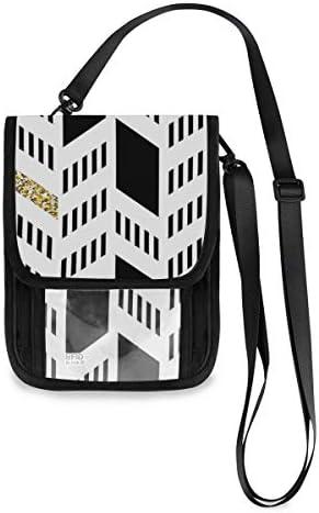 トラベルウォレット ミニ ネックポーチトラベルポーチ ポータブル 幾何学模様 黒と白 小さな財布 斜めのパッケージ 首ひも調節可能 ネックポーチ スキミング防止 男女兼用 トラベルポーチ カードケース
