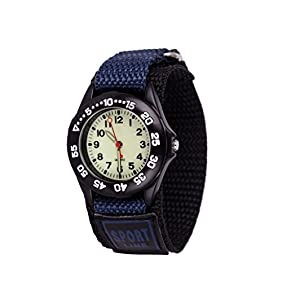 Wolfteeth Grade School Kids Boys Portable Army Military Wrist Watch Time Teacher, Nylon Velcro Strap Navy 304202
