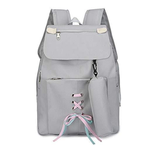 Sencillo color puro 2 piezas, adolescentes, niñas, juegos de mochilas 2 en 1 bolsa para computadora portátil, mochila,...
