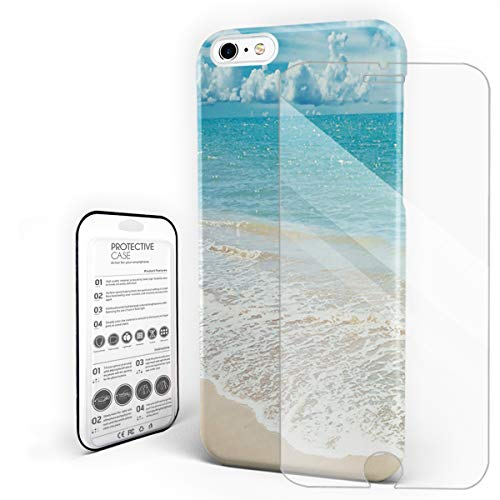 Slim Fit Hard Shell Case for iPhone 6/6s Full Protective Shockproof Sand Beach Seashore Beautiful Natural View Cover Case for Apple ()