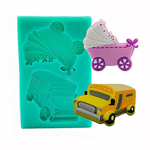 wiwanshop Baby Carriage Trolley Car School Bus Vehicle Silicone Wedding Cake Mold Decorating Mould - Vinyl Trolley