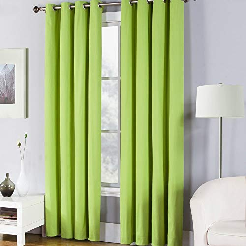 Fiesta Solid Color Sheet Set Window Curtain Panel, 50 x 84, Lemongrass Green