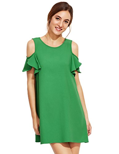 Milumia Women's Summer Cold Shoulder Ruffle Sleeves Shift Dress Green L Photo #4