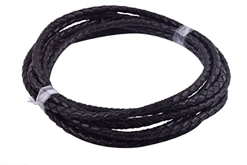 Black Braided Bolo Leather Cord - KONMAY 2 Yards 4.0mm Black Genuine Leather Braided Bolo Leather Cord