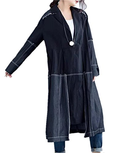 YESNO BY0 Women Long Loose Jacket Casual Trench Coat 100% Cotton Button-Down Large 'A' Skirt Ripped Long Sleeve