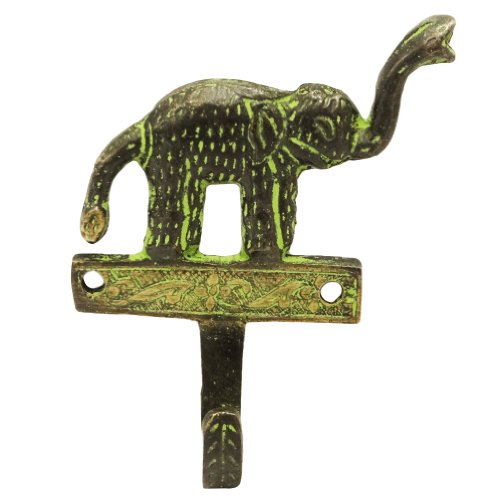 Elephant Design Wall Hanger Black Figurine Hand Carved Brass Metal Wall Home Décor