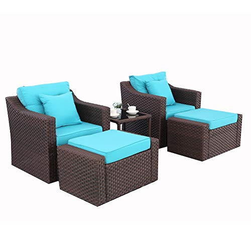 HTTH 5 Pcs Outdoor Patio Furniture Sets Rattan Soft Wicker Set,Outdoor Indoor Use Backyard Porch Garden Poolside Balcony Furniture Set with 2 Pillows and CoffeeTable
