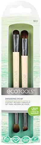 EcoTools Eye Enhancing Duo Brush Set, Made with Recycled and Sustainable Materials, Cruelty Free Synthetic Taklon Bristles, Aluminum Ferrule, Recycled Packaging