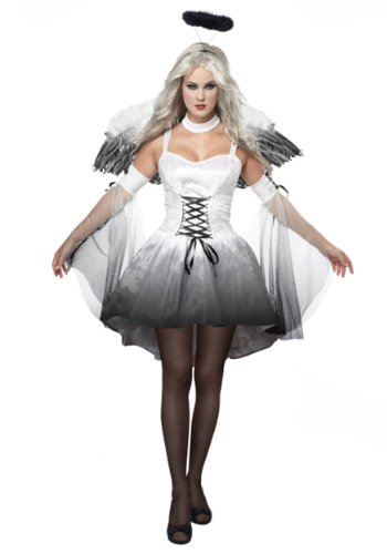[California Costumes Women's Platium Collection - Angel Of Darkness Adult, White/Black, Medium] (Fallen Angel Costume)