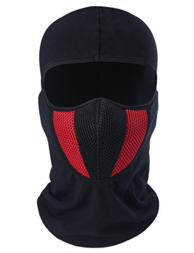 ChinFun Balaclave Cotton Spandex Windproof Ski Mask Cold Weather Face Mask Winter Tactical Hood Motorcycle Neck Warmer Ultimate Thermal Retention Winter Outdoor Premium Soft Moisture Wicking Red