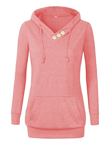 VOIANLIMO Women's Sweatshirts Long Sleeve Button V-Neck Pockets Pullover Hoodies Pink XL
