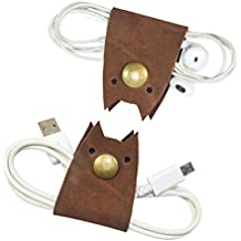 Cat Shaped Cord Keeper (Cord Clam) 2-Pack Handmade by Hide & Drink :: Swayze Suede