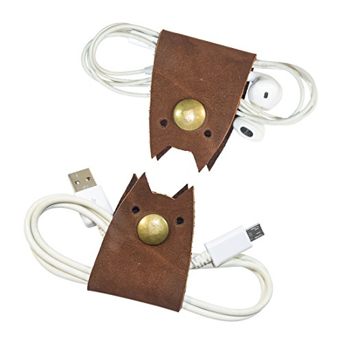 Cat Shaped Cord Keeper (Cord Clam) 2-Pack Handmade by Hide & Drink :: Swayze (Farenheit Wireless Headphones)