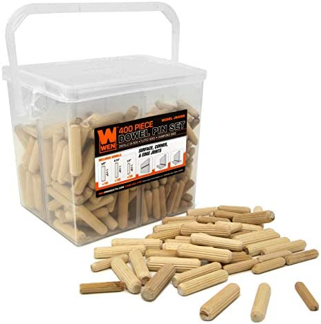 WEN JN400D 400-Piece Fluted Dowel Pin Variety Bucket with 1/4, 5/16, and 3/8-inch Woodworking Dowels