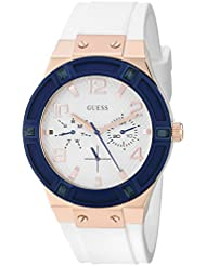 GUESS Womens U0564L1 Sporty Rose Gold-Tone Stainless Steel Watch with Multi-function Dial and White Strap Buckle