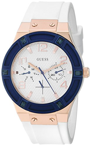 GUESS Women's U0564L1 Sporty Rose Gold-Tone Stainless Steel Watch with Multi-function Dial and White Strap - Dial Ladies Guess White
