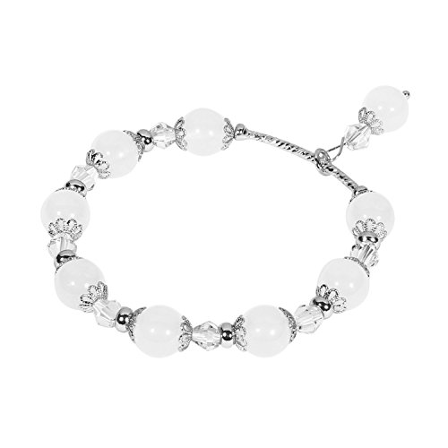 Tomazon Fashion Handmade Faux Pearl Beaded Crystals Stretch Elastic Wrap Around Wrist Bracelet Bangles for Women Girls (1 row - white) Mother Of Pearl White Bracelet