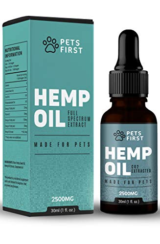 Pets First 25% High Strength Hemp Oil for Dogs & Cats 30ml 2500mg Treat & Remedy for | Pain Relief | Anxiety | Sleep