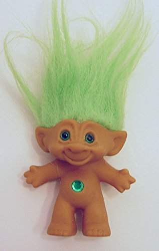 Ace Novelty Green Haired Green Round Jewel Treasure Troll Doll