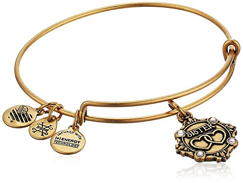 Alex and Ani Womens Because I Love you, Sister Charm Bangle Bracelet, Rafaelian Gold, Expandable