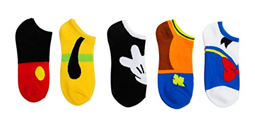 Disney Women's Classic 5 Pack No Show, Mickey Big Face, Fits Sock Size 9-11 Fits Shoe Size 4-10.5 from Disney