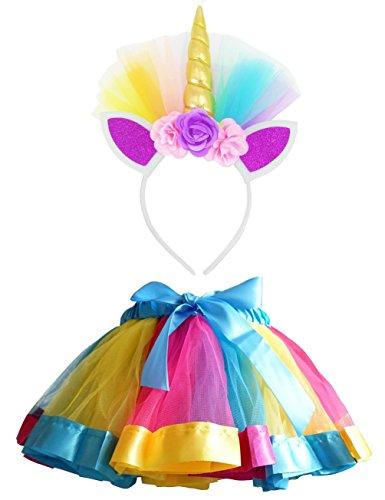 LYLKD Little Girls Layered Rainbow Tutu Skirts with Unicorn Horn Headband (Gold, L,4-8 Years)
