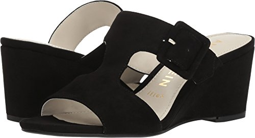 Anne Klein Women's NILLI Dress Sandal Wedge, Black Suede, 6 M US