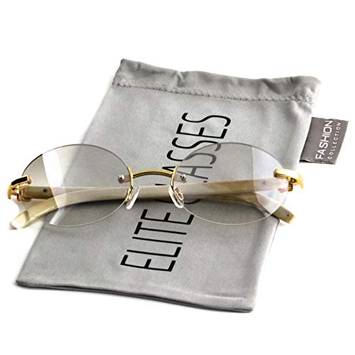 Retro Wood Buffs Vintage Style Gangster Rimless Clear Lens Oval Eye Glasses (Tinted-Clear/Cream, ()