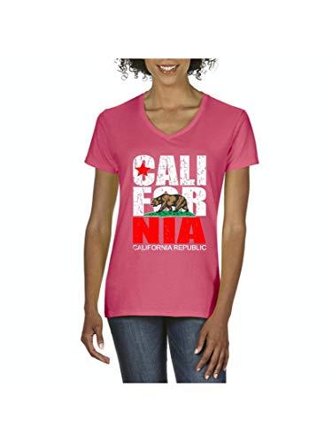 California Republic Vintage Cali Hollywood Los Angeles Gift Women's V-Neck T-Shirt Tee (2XLAP) Azalea Pink