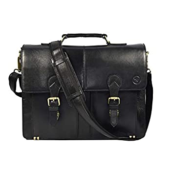 Image of Luggage 17' Leather Briefcase Messenger Bag for Laptop by Aaron Leather Goods