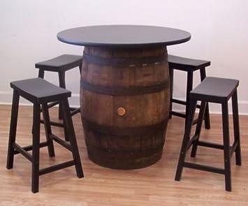 White Oak Whiskey Barrel Table 36u0026quot; Table Top (4) Black Bar