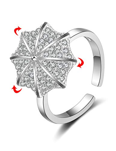 XZP Adjustable Rotatable Wrap Open Rings Cubic Zirconia Latest Novelty Windmill Engagement Ring for Women Girl Gift (Umbrella)