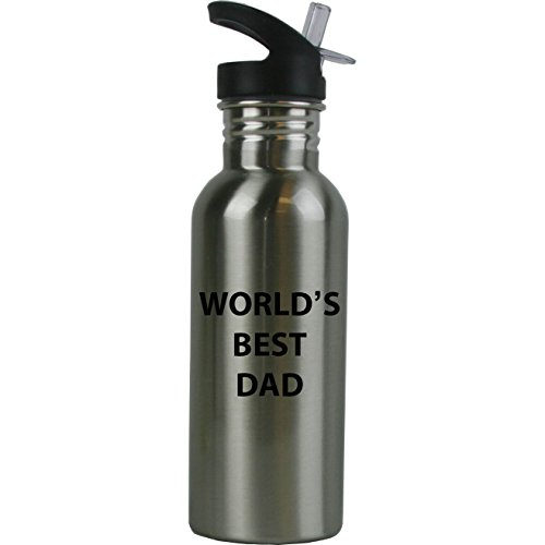 World's Best Dad Stainless Steel Silver Water Bottle - Great Gift for Father's Day, Birthday, or Christmas Gift for Dad, Grandpa, Papa, Husband
