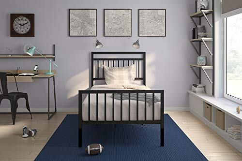 DHP Jackson Metal Bed Frame with Under Bed Storage, Black, ()