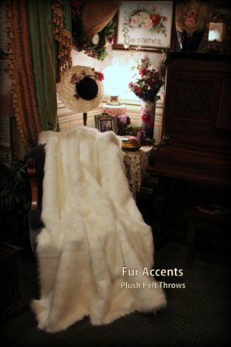 Fur Accents Throw Blanket Warm White Mink Fur /60'' X 70'' by Fur Accents