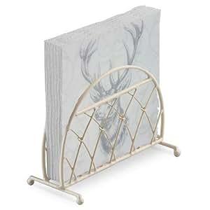 Sketched STAG Silver Grey White 20 X 3 PLY Paper NAPKINS & Cream Lattice Napkin Holder Set